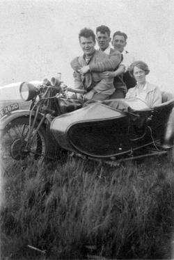 Friends Out For Spin On Motorbike And Sidecar 1920s