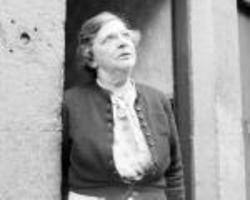 Miss Heseltine standing in her main door which was Number 36 Dean Path.