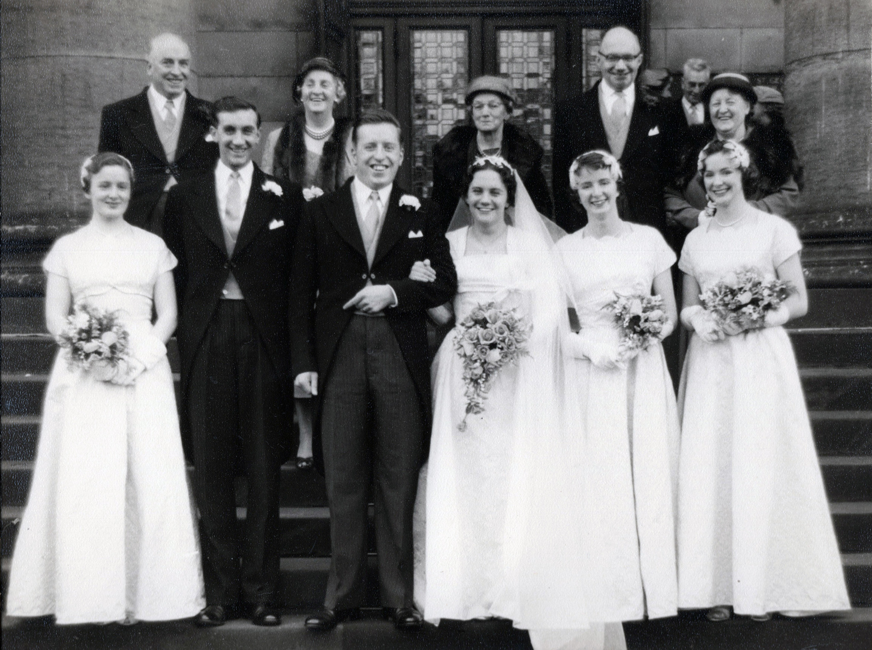 Wedding Family Posing On Front Of Church Steps 1957