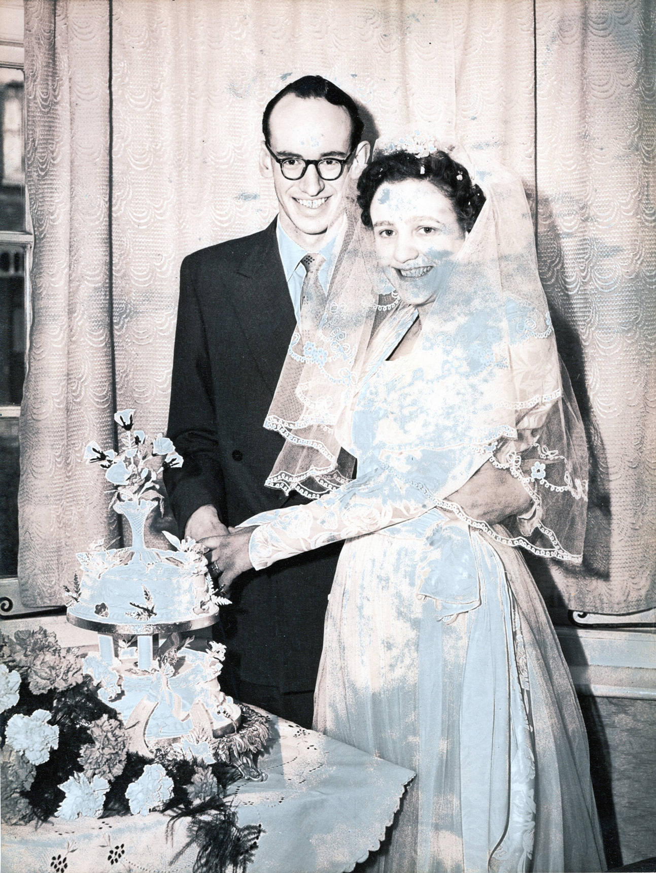 Bride And Bridegroom Cutting The Cake, 19 May 1956