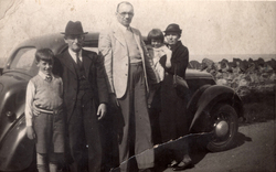 Family Standing By Car At Roadside c.1938