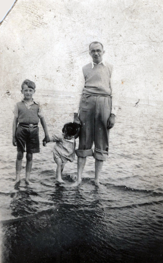 Family Going For A Paddle In The Sea c.1938