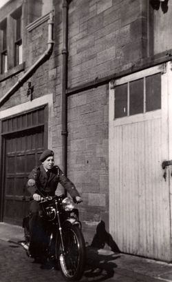 Air Training Corp Cadet On Motorbike Outside Garage In Thirlestane Lane c.1950