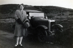 Woman Standing By Car At Roadside c.1930