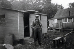 Man Standing Outside Family Cabin At Balerno c.1946