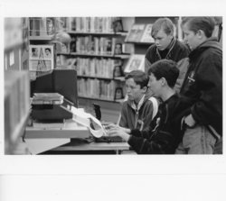 Boys at games console, Oxgangs Library