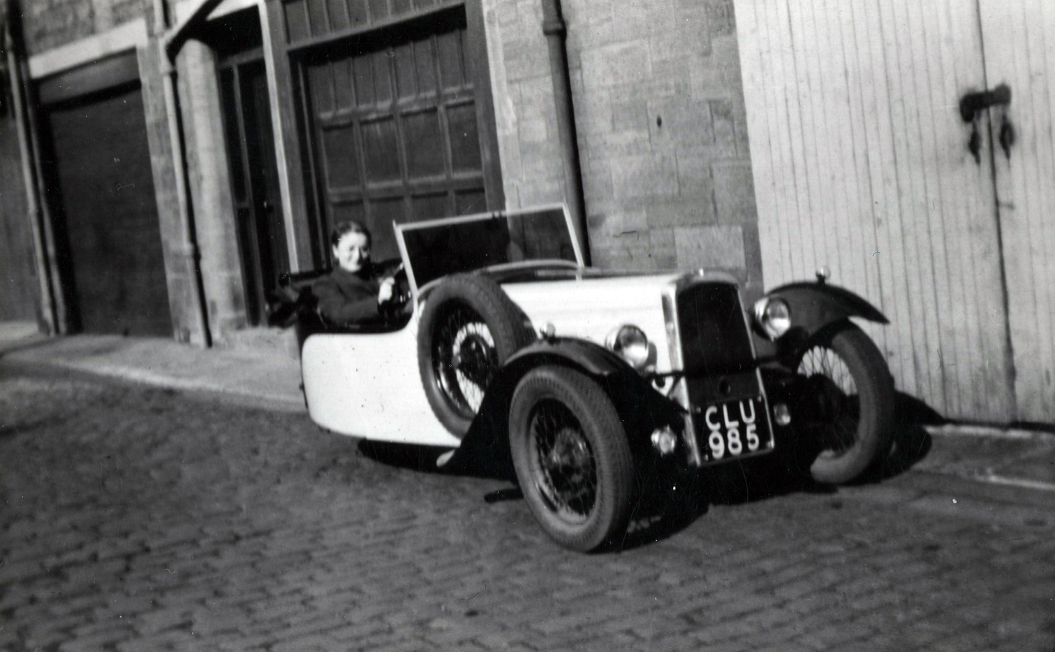 Girl In Driving Seat Of Three Wheeled Car In Thirlestane Lane c.1950