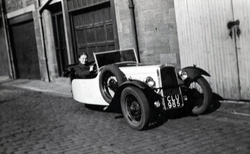 Girl In Driving Seat Of Three Wheeled Car In Thirlestane Lane c.1950