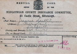 Midlothian Medical Card 1925