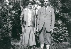 Mother And Son Standing In The Garden c.1930