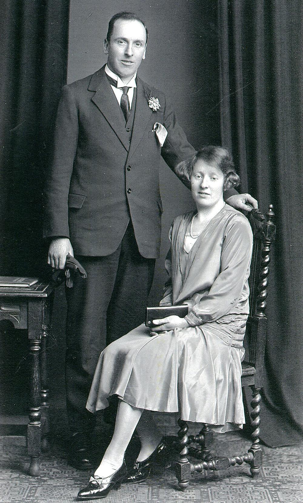 Studio Portrait Bride And Bridegroom On Their Wedding Day 1929