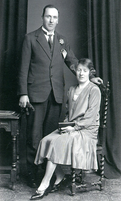 Studio Portrait Bride And Bridegroom On Wedding Day 1929