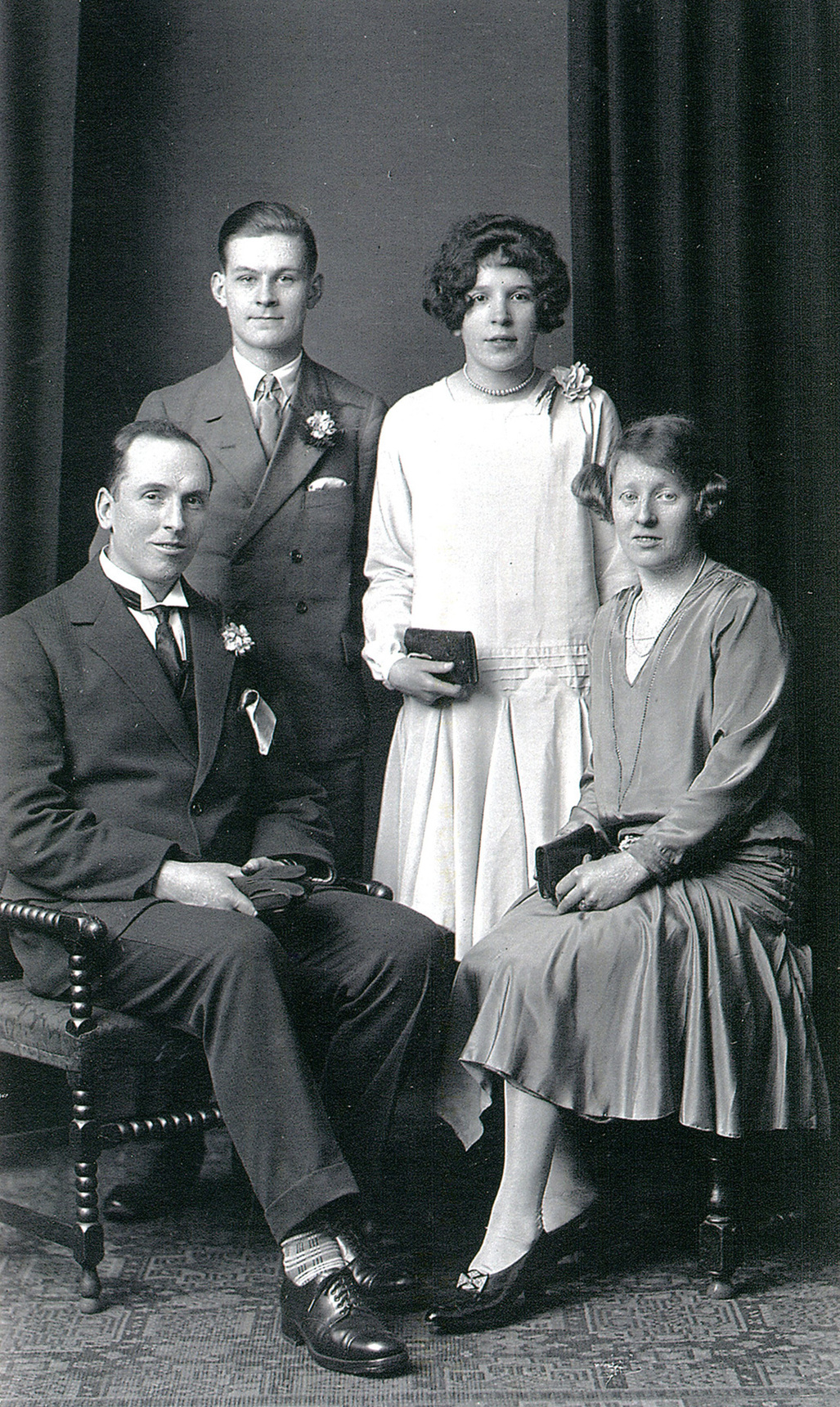 Studio Portrait Bride And Bridegroom Seated With Best Man And Bridesmaid 1929