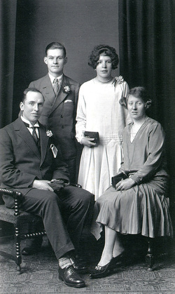 Studio Portrait Bride And Bridegroom With Best Man And Bridesmaid 1929