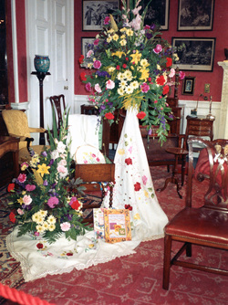 Embroidery And Floral Display At Lauriston Castle c.1990