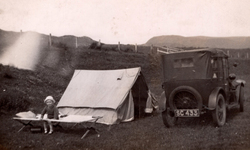 Young Boy Sitting On Camp Bed During Trip To Orkney c.1937