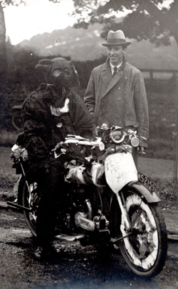 Man In Fancy Dress Animal Costume On Motorcycle c.1924