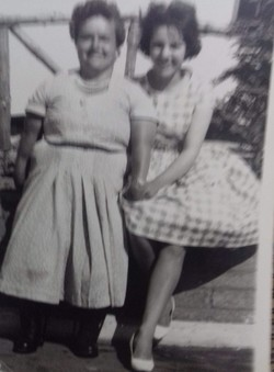 Ruby Simpson who was disabled with Polio is pictured here with Lynn Ridgway.