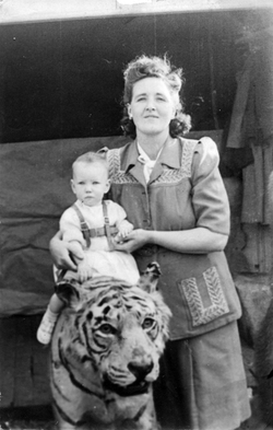 Mother With Her Young Daughter Sitting On Tiger At The Zoo 1949