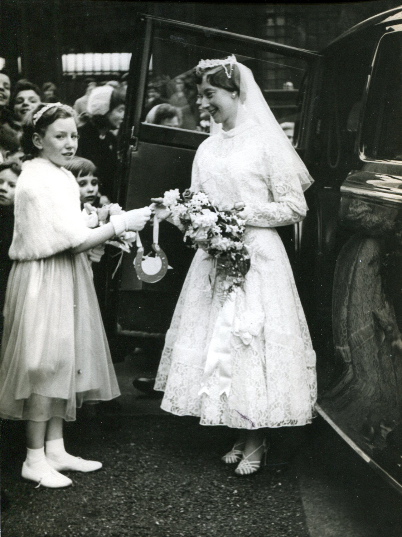Bride And Her Bridesmaid On Her Wedding Day 1959