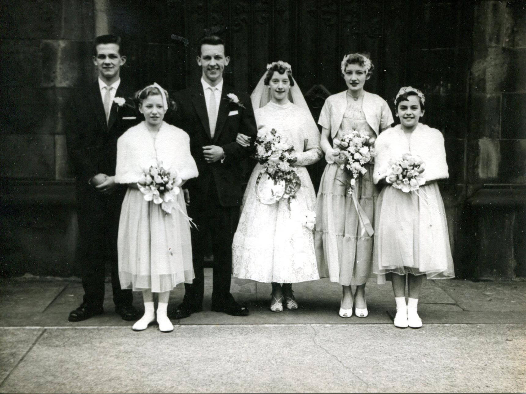 Wedding Group Outside South Leith Parish Church 1959