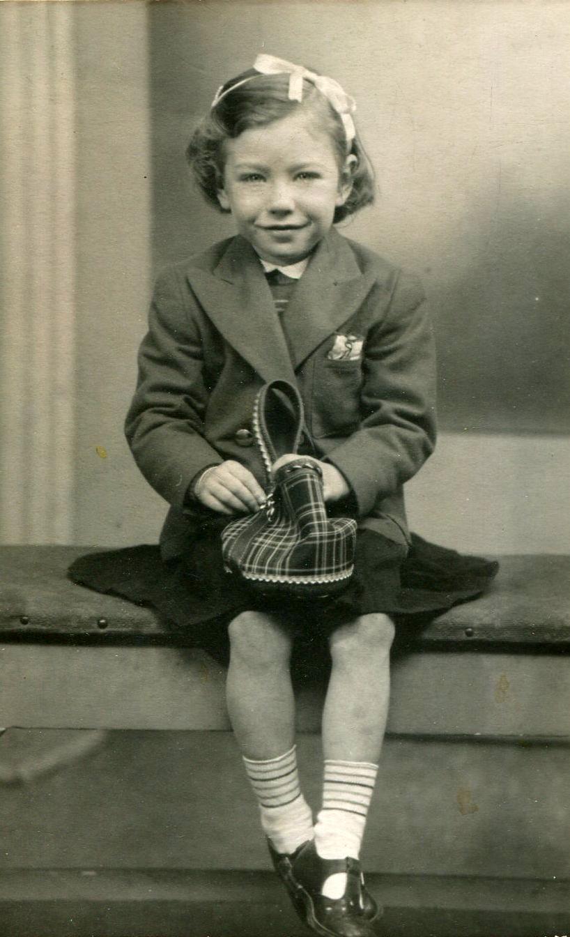 Studio Portrait Young Girl Sitting Holding Bag 1953