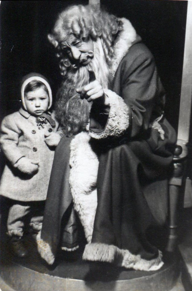 Young Girl With Department Store Santa Claus 1951