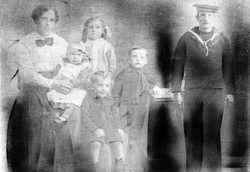 Studio Portrait Of Family With Montage Of Their Father c.1916