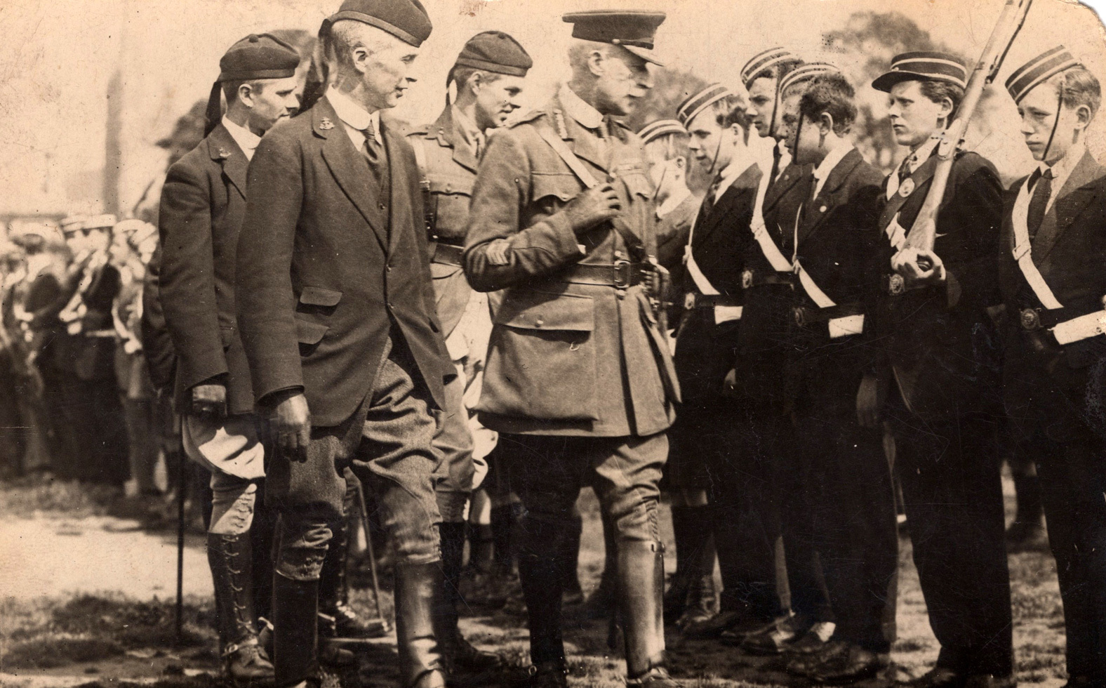 Postcard Of Officers Inspecting Line Of The Boys Brigade Standing To Attention 1930s