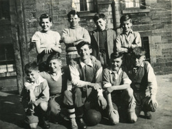Group Of Boys Playing As Ballantyne Football Team 1950