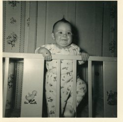 Baby in cot, Oxgangs