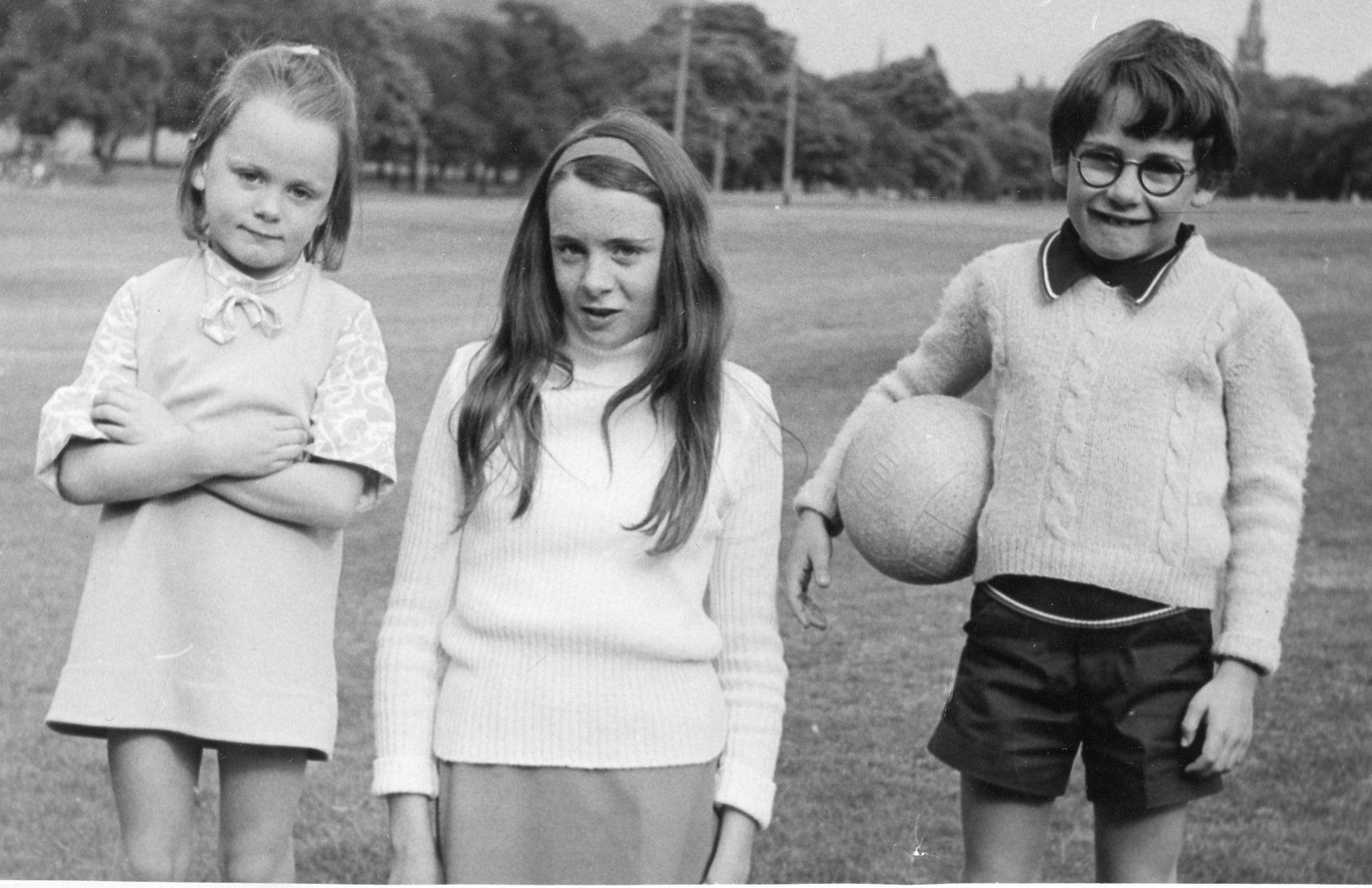 Group photo of three children, Oxgangs