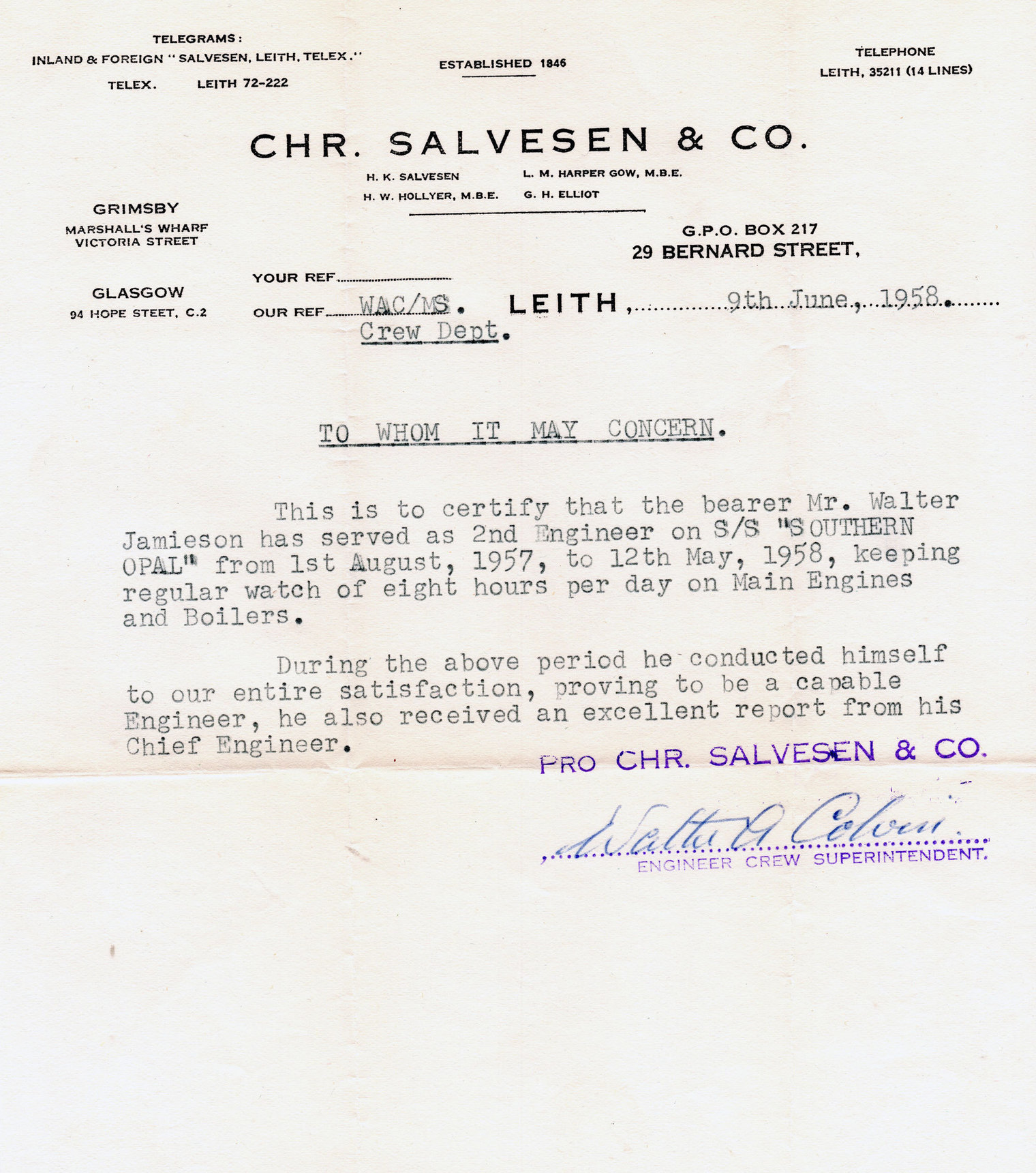 Reference Of Employment Letter For Engineer At Christian Salvesen 1958