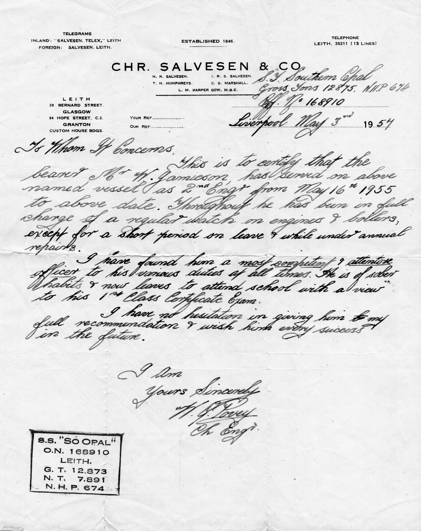 Reference Of Employment Letter For Engineer At Christian Salvesen 1957