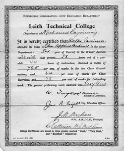 Leith Technical College Certificate In Elementary Applied Mechanics 1935