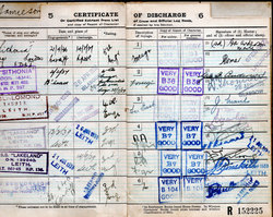Pages From Certificate Of Discharge Logbook c.1940