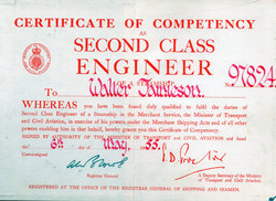Certificate Of Competency Second Class Engineer 1955