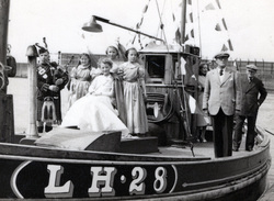 "Newhaven Gala Queen And Entourage Set Sail From Newhaven Harbour On ""The Gratitude"", June 1955"