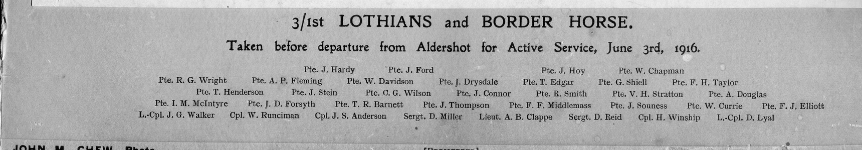 3/1st Lothain And Border Horse List Of Names 1916