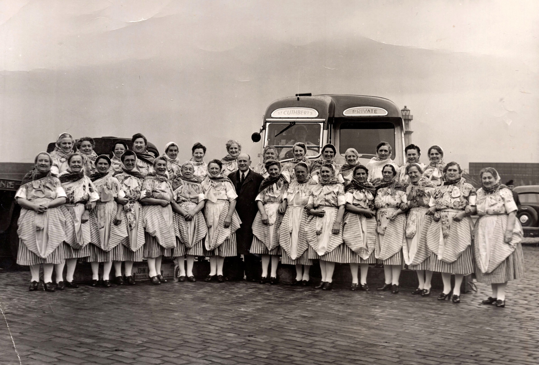 Newhaven Fishwives Choir At Harbour 1930s