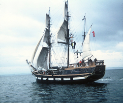 "The ""Marques"" - Refitted As Replica Of HMS Beagle - Off The Shore At Inchkeith c.1980"