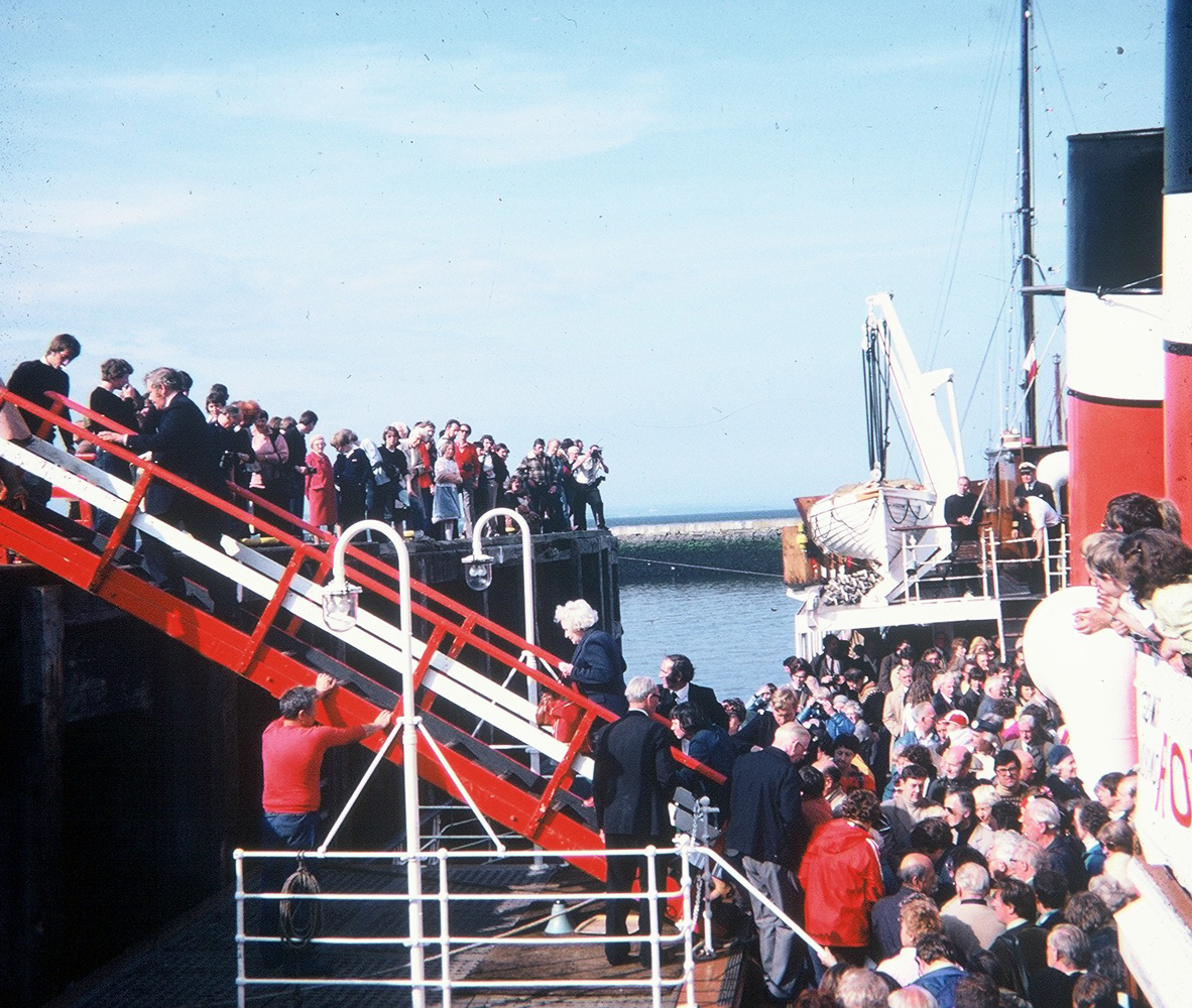 Passengers Disembarking The PS Waverley At Granton Harbour 1980s