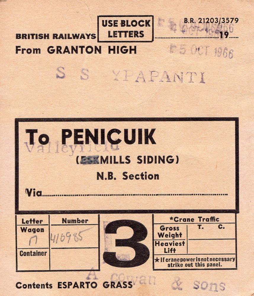 Esparto Grass Label, 15 October 1966