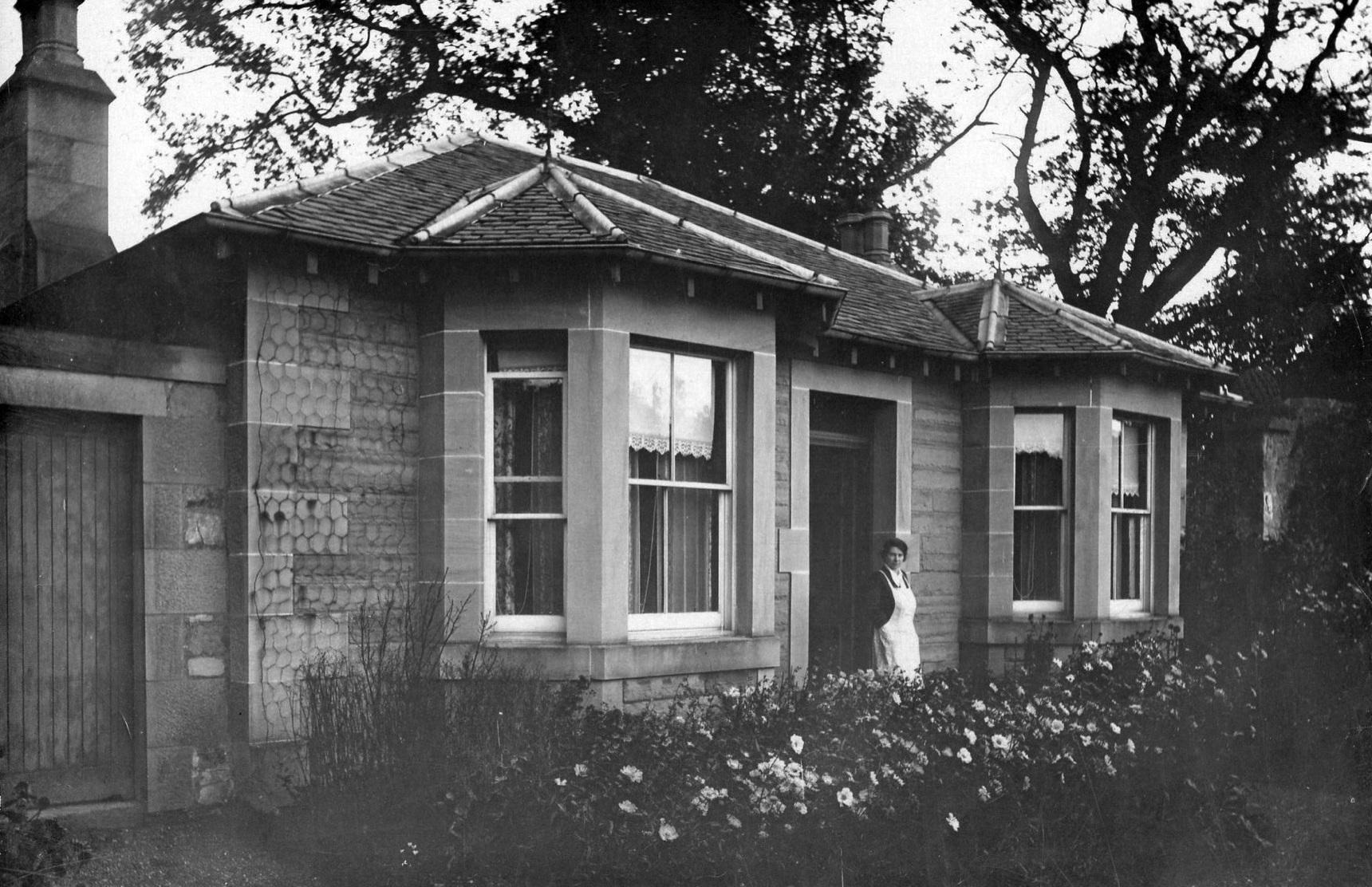 Servant Stands In Doorway Of Inch Park Cottage c.1920