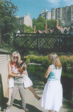 Here are my family by the side of the Water of Leith with my grand daughter Brogan
