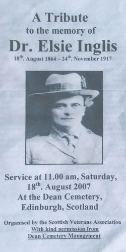 I attended the Dean Cemetery on the above date to pay my respects to Elsie Inglis,