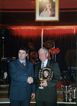John Lewis Snooker Team Member Being Presented With Shield And Cup 1980s