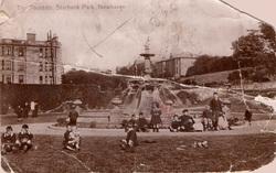 Postcard Of Children Sitting Around The Devlin Fountain In Starbank Park c.1910