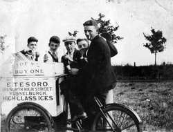 Group Of Men Standing Around An Ice Cream Vendor And Bike 1920s