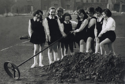 Fort Street Primary Pupils Pose With Netball Basket On Unplayable Court c.1959